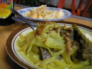 Ketupat sayur plus empal, krupuk dan kecap