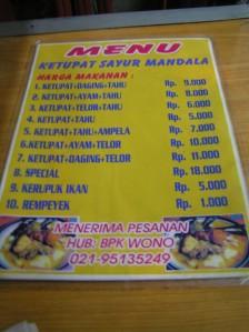 Daftar menu dan harga (saat ini)